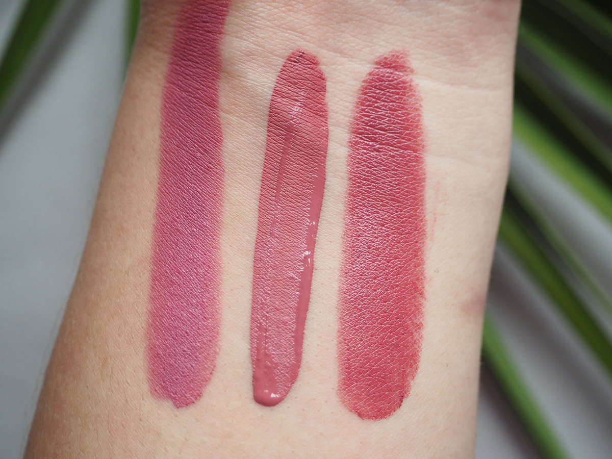 Left to Right: NYX Tea Rose Lipstick, Milani Amore Matte Precious, Milani Plumrose