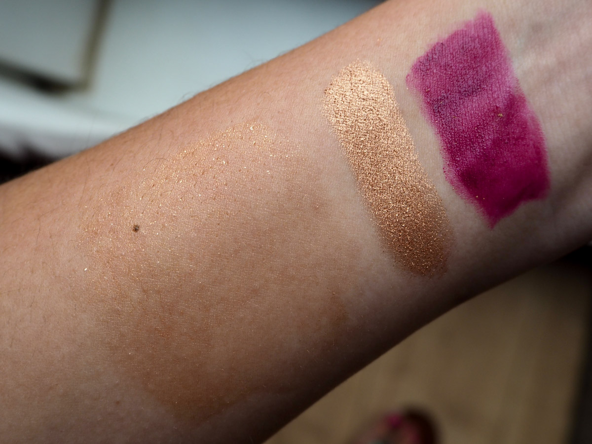 Left to Right: MUFE Luminizer, Middle, Too Faced Copper Peony Shadow, Laura Gellar Cab Catch Lipstick