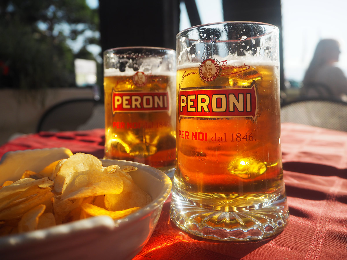 Peroni Beers were a refreshing choice in Varenna