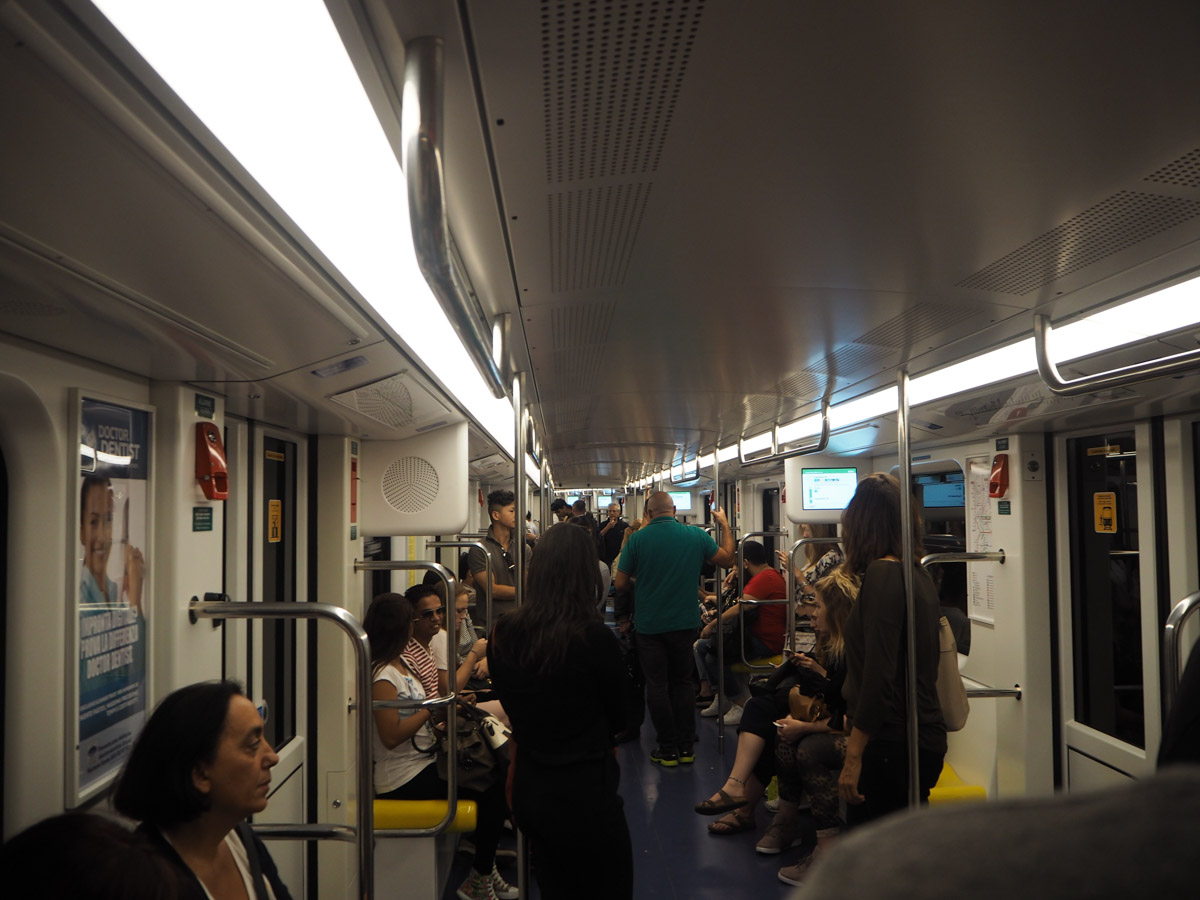 The Metro Carriages in Milan - Generally no busier than this, not as cramped as the tube!