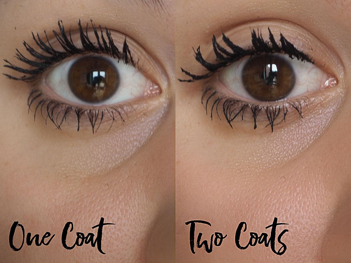 Benefit Bad Gal Bang Mascara One Coat vs 2 Coats